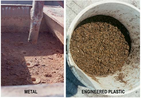 Figure 1. Scale can deposit on metal surfaces (left), but not on engineered plastics, where removal only requires a washdown.