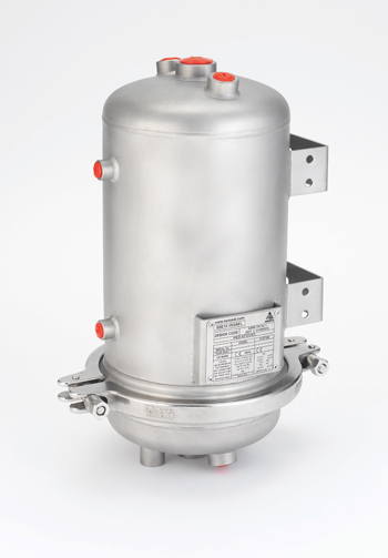 Two-Part Vessel -- Figure 4. Removable bottom section enables quick inspection for contamination and facilitates any needed cleaning.