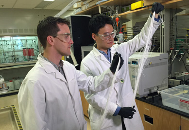 Membrane Researchers -- Figure 1. Ryan Lively (left) and Dong-Yeun Koh, hold bundles of hollow polymer fibers that serve as precursors for the carbon membrane fiber used to separate alkyl aromatic chemicals. Source: John Toon, Georgia Tech.
