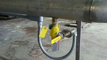 Critical Bleed Valve -- Figure 4. Bright yellow color alerts staff to importance of this bleed valve.