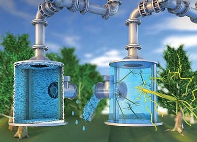 Anti-Scaling Agent --Figure 1. Hairy nanocellulose, used as an anti-scaling agent in the container at right, prevents the kind of mineral build-up that is restricting outflow from the container at left. Source: McGill University.
