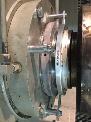 Groundling Ring -- Figure 1. Installing device on shaft of 400-hp fan motor for thermal oxidizer eliminated problems from stray currents.