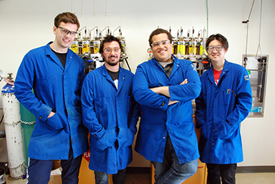Chemical Reaction Researchers --Figure 1. The research team includes, from left, Stasik Popov, Alex Bagdasarian, Hosea Nelson and Brian Shao. Source: Penny Jennings/UCLA Chemistry & Biochemistry.