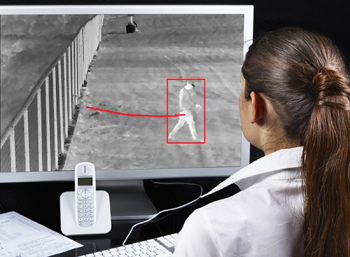 Intrusion Detection -- Figure 2. Monitoring picks up person that has gotten by fence at site. Source: PureTech Systems.