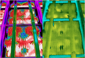 Figure 3. Thermal images show state of WASC tube bundles and sprays before (left) and after (right) cleaning.