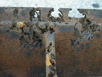 Impeller Damage -- Figure 1. Operating at a suction pressure below the lowest recommended pressure can cause cavitation that damages the impeller.