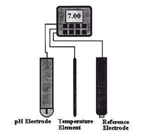 SENSOR ELEMENTS -- Figure 4. A glass electrode has a pH-sensitive tip with a fill solution of known pH. Process fluids can poison the electrode and the reference solution.