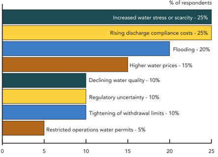 RISKS TO OPERATIONS -- Figure 1. Risks cited by chemical industry respondents range from water scarcity to flooding.