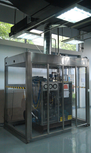 TEST RIG -- Figure 1. Unit for evaluating heat transfer fluids now is operating at Air Products' Shanghai technology center. Source: Air Products.
