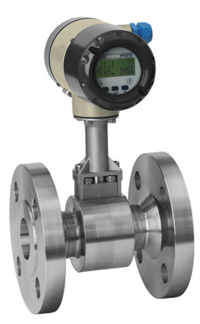 SMART FLOW METER -- Figure 1. This vortex meter has an integral temperature sensor and an optional pressure sensor. Source: Honeywell.