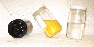 GELLED, USED AND NEW HEAT-TRANSFER FLUID -- Figure 2. If a cooled sample won't pour, don't shut down your system until you have a plan to remove and replace the fluid.