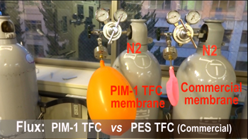 MEMBRANE PERMEABILTY -- Figure 1. A higher volume of nitrogen gas is able to pass through PIM-1 into the orange balloon compared with the membrane on the right, connected to the pink balloon. Source: Kyoto University iCeMS