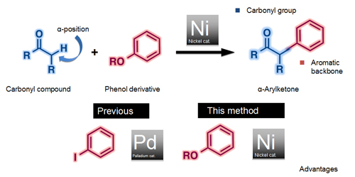 IMPROVED METHOD -- Figure 1. Using nickel catalyst and phenol derivative reduces costs and avoids generating halogen-containing waste. Source: Institute of Transformative Bio-Molecules, Nagoya Univ.