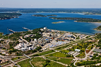 IMPROVED ENERGY EFFICIENCY -- Figure 1. Specialty chemicals plant at Stenungsund, Sweden, has pared energy consumption by 20% in the past two years. Source: AkzoNobel.