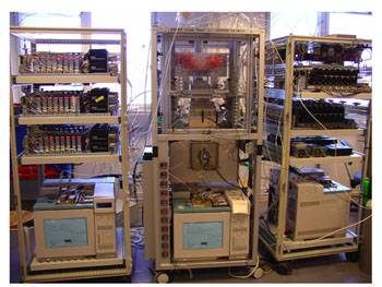 HIGH-THROUGHPUT TEST SYSTEM -- Figure 1. This unit, developed by UOP and Sintef, includes 48 reactors to test 48 samples.