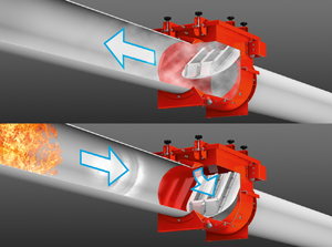 "Passive Flap Valves -- Figure 5. Devices must have latching mechanisms to prevent ""bounce"" that could allow flame through."
